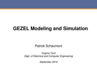 GEZEL Modeling and Simulation