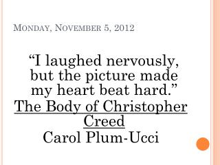Monday, November 5, 2012