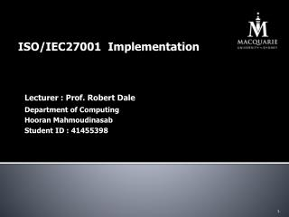 ISO/IEC27001  Implementation