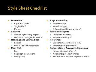 Style Sheet Checklist