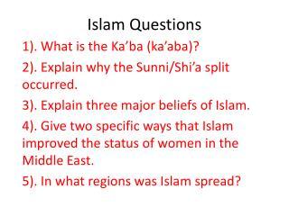 Islam Questions