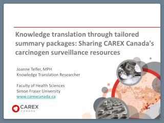 Joanne Telfer, MPH Knowledge Translation Researcher