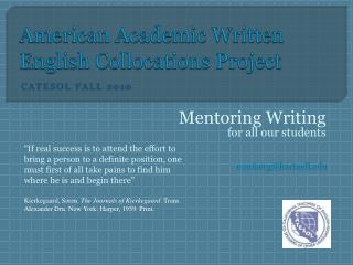 American  Academic Written English Collocations Project