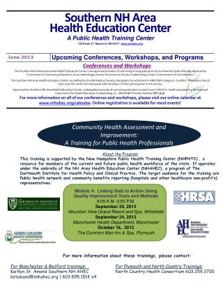 Community Health Assessment and Improvement:  A Training for Public Health Professionals