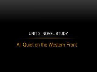 Unit 2: Novel study
