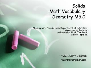 Solids  Math Vocabulary Geometry M5.C