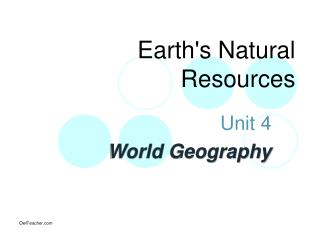 Earths Natural Resources