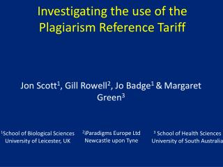 Investigating the use of the Plagiarism Reference Tariff