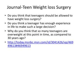 Journal-Teen Weight loss Surgery
