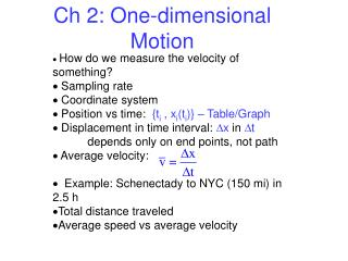 Ch  2: One-dimensional Motion