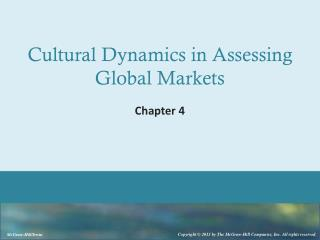 Cultural  Dynamics in  Assessing  Global Markets