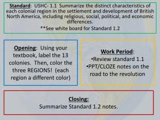 Closing: Summarize Standard 1.2 notes.