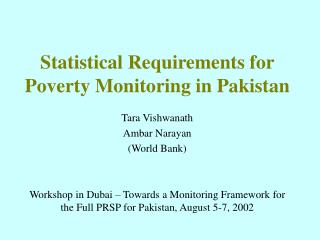 Statistical Requirements for Poverty Monitoring in Pakistan