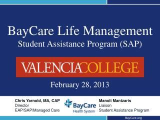 BayCare Life Management Student Assistance Program (SAP)