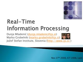 Real-Time  Information  Processing