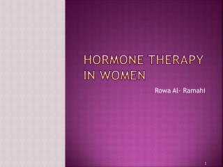 Hormone Therapy in Women