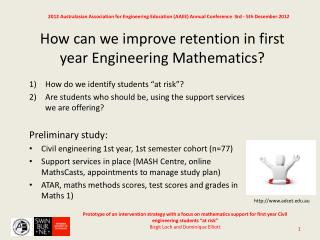 How can we improve retention in first year Engineering Mathematics?