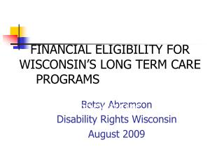 Betsy Abramson Disability Rights Wisconsin