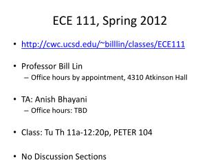ECE 111, Spring  2012