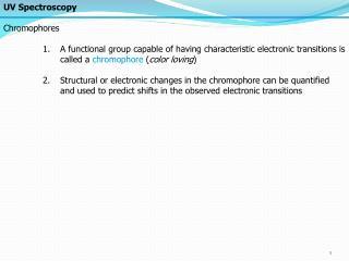 UV Spectroscopy Chromophores