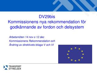 DV29bis  Kommissionens nya rekommendation för godkännande av fordon och delsystem