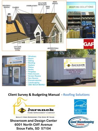 Client Survey & Budgeting Manual  -  Roofing Solutions