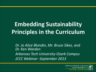 Embedding Sustainability Principles in the Curriculum