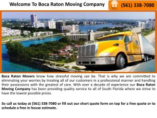 Boca Raton Movers, Boca Raton Moving Company, Discount Flori