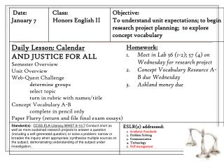 Homework: Meet in Lab 56 (1-2); 57 (4) on Wednesday for research project