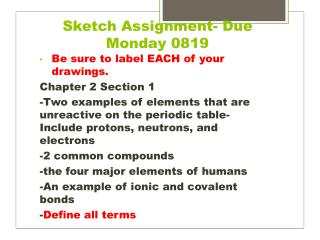 Sketch Assignment- Due Monday 0819