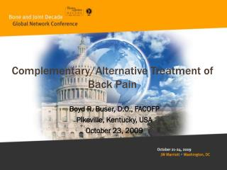 Complementary/Alternative Treatment of Back Pain