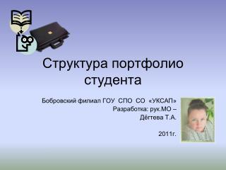 Структура портфолио студента