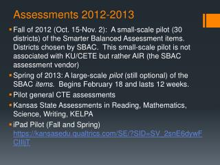 Assessments 2012-2013