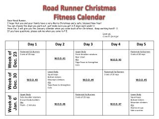 Road Runner Christmas Fitness Calendar