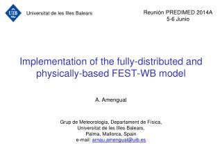 Implementation of the fully-distributed and physically-based FEST-WB model