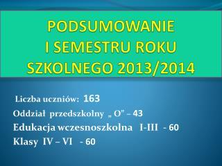 PODSUMOWANIE  I  SEMESTRU ROKU SZKOLNEGO  2013/2014