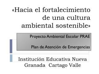 Proyecto Ambiental Escolar PRAE Plan de Atención de Emergencias