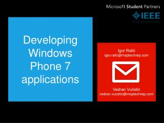 Developing Windows  Phone 7 applications