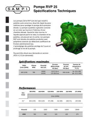 Pompe RVP 25 Spécifications Techniques