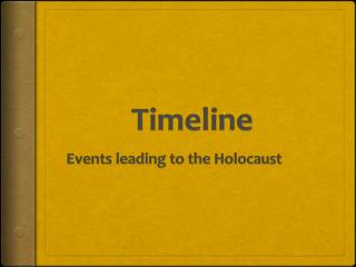 Timeline Events  leading to the Holocaust