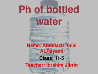 Ph of bottled water