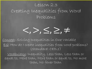 Lesson 2.3  Creating Inequalities from Word Problems