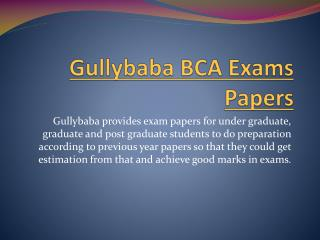 Gullybaba BCA Exams Papers
