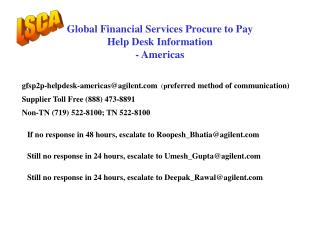 Global Financial Services Procure to Pay Help Desk Information - Americas