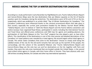 MEXICO AMONG THE TOP 14 WINTER DESTINATIONS FOR CANADIANS