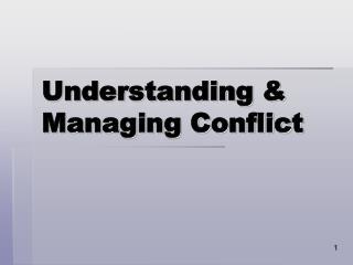 Understanding  Managing Conflict