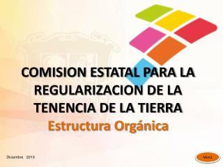 COMISION ESTATAL PARA LA REGULARIZACION DE LA TENENCIA DE LA TIERRA Estructura Orgánica