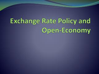 Exchange Rate Policy and Open-Economy