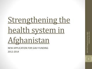 Strengthening the health system in Afghanistan