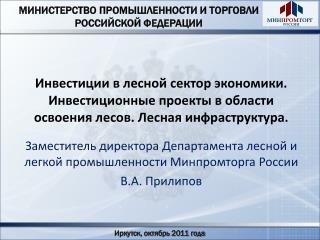 Заместитель директора Департамента лесной и легкой промышленности Минпромторга России